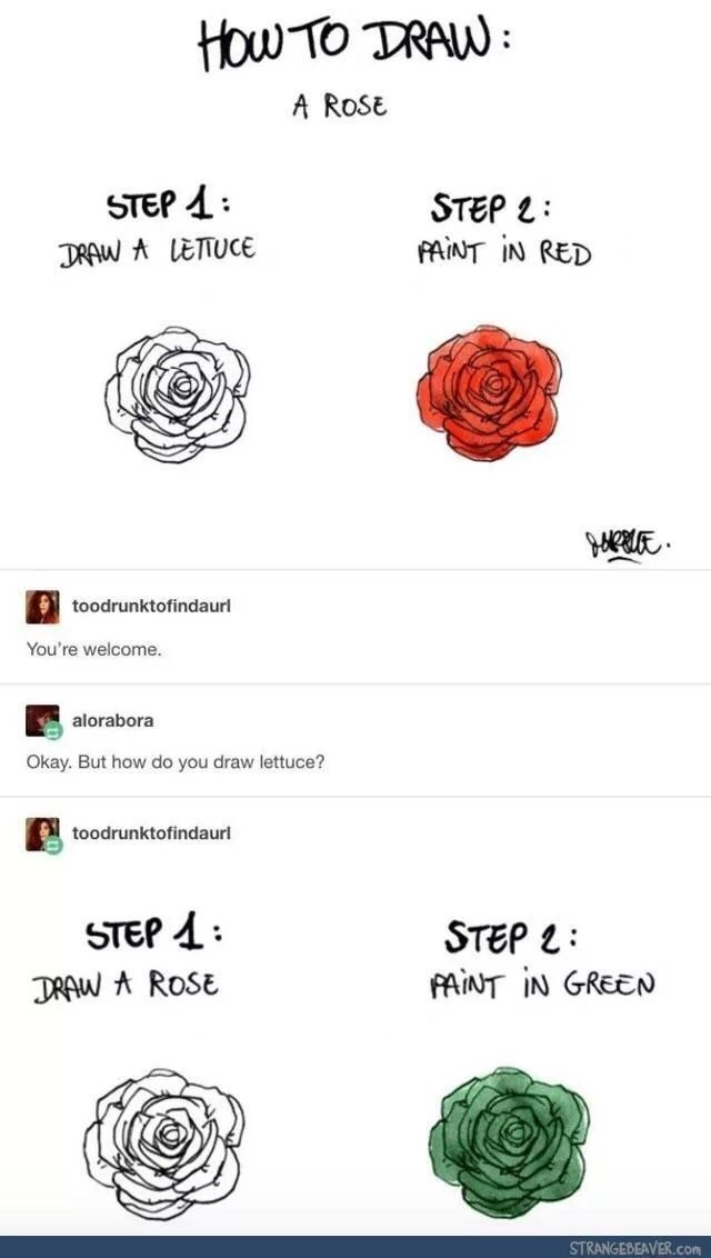Text - HOw TO TRAW A ROSE STEP STEP FAINT IN RED DRAW A LETTUCE toodrunktofindaurl You're welcome. alorabora Okay. But how do you draw lettuce? toodrunktofindaurl STEP DRAW AROSE STEP L AINT IN GREEN STRANGEBEAVER.com