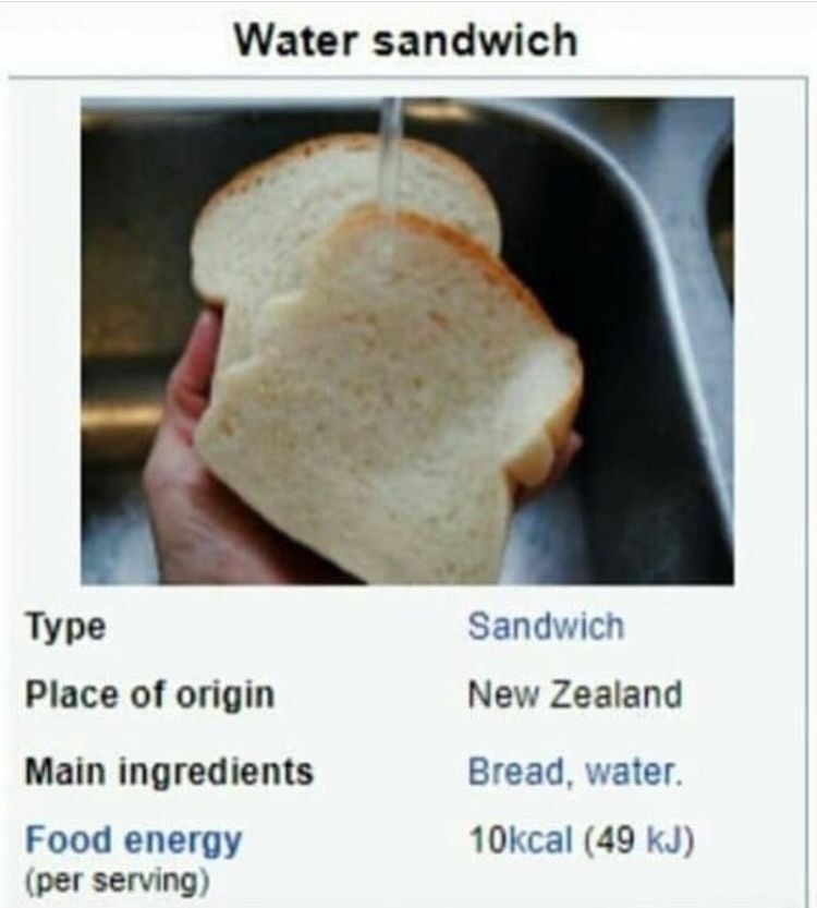 """Wikipedia entry called """"Water sandwich"""" above a pic of someone pouring water on two slices of bread, with a description stating that it originated in New Zealand"""