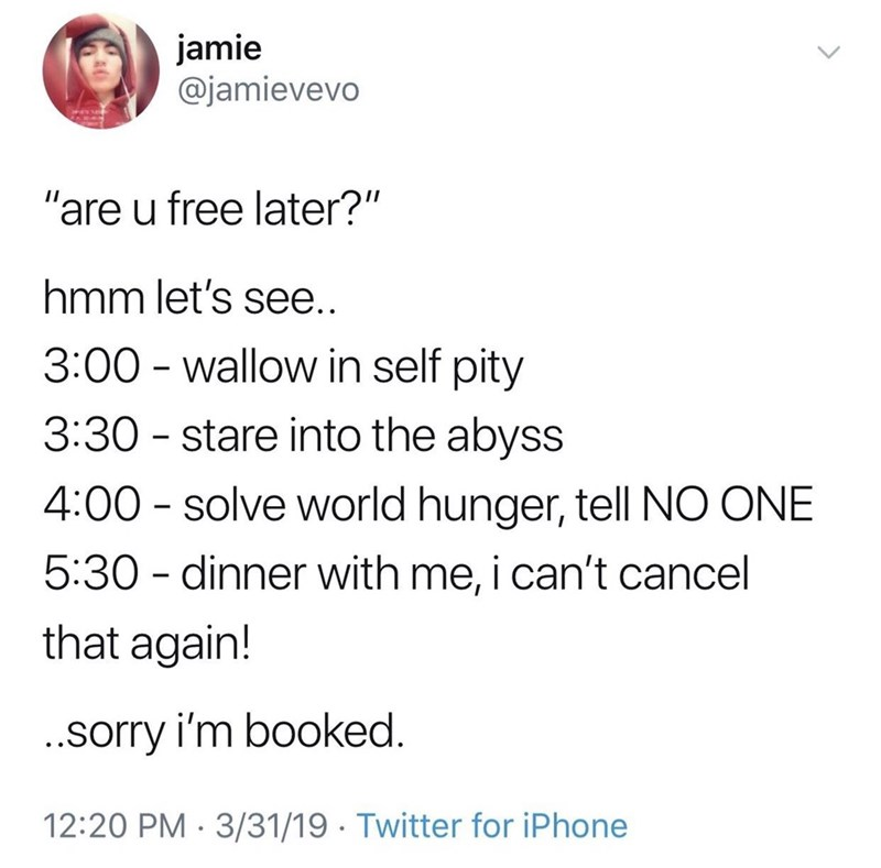 """meme - Text - jamie @jamievevo """"are u free later?"""" hmm let's see.. 3:00 wallow in self pity 3:30 stare into the abyss 4:00 solve world hunger, tell NO ONE 5:30 dinner with me, i can't cancel that again! .sorry i'm booked 12:20 PM 3/31/19 Twitter for iPhone"""