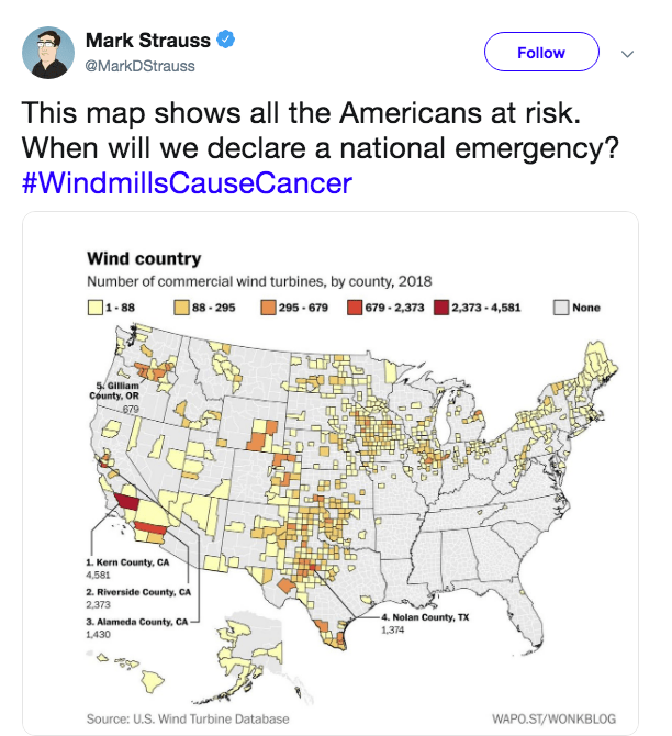 Map - Mark Strauss Follow @MarkDStrauss This map shows all the Americans at risk When will we declare a national emergency? #WindmillsCauseCancer Wind country Number of commercial wind turbines, by county, 2018 ]1-88 |88-295 679- 2,373 2,373-4,581 295-679 None 5.Glliam County, OR 679 1 Kern County, CA 4,581 2. Riverside County, CA 2,373 4. Nolan County, TX 3. Alameda County, CA 1,374 1430 Source: U.S. Wind Turbine Database WAPO.ST/WONKBLOG