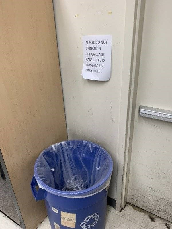 Waste container - PLEASE DO NOT URINATE IN THE GARBAGE CANS THIS IS FOR GARBAGE ONLY
