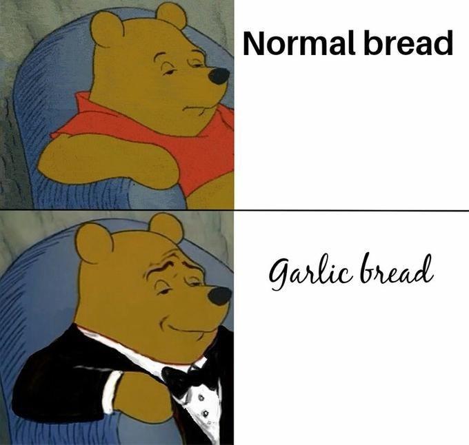 tuxedo winnie pooh - Cartoon - Normal bread garlic bread