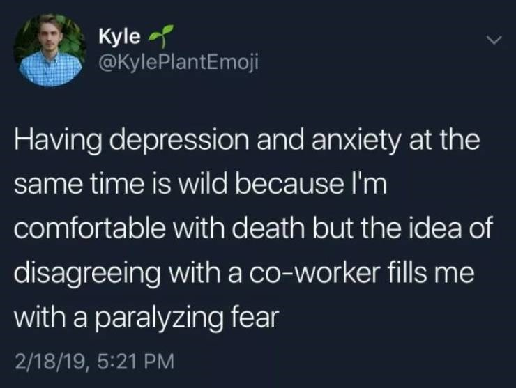 Text - Kyle @KylePlantEmoji Having depression and anxiety at the same time is wild because I'm comfortable with death but the idea of disagreeing with a co-worker fills me with a paralyzing fear 2/18/19, 5:21 PM