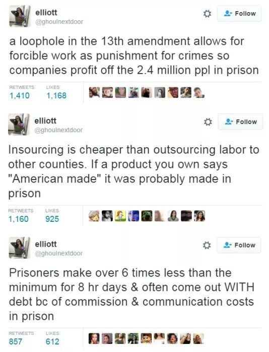 """industrial prison complex - Text - elliott Follow @ghoulnextdoor a loophole in the 13th amendment allows for forcible work as punishment for crimes so companies profit off the 2.4 million ppl in prison RETWEETS LIKES 1,410 1,168 elliott Follow @ghoulnextdoor Insourcing is cheaper than outsourcing labor to other counties. If a product you own says """"American made"""" it was probably made in prison RETWEETS LIKES 1,160 925 elliott Follow @ghoulnextdoor Prisoners make over 6 times less than the minimum"""