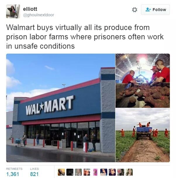 industrial prison complex - Website - elliott Follow @ghoulnextdoor Walmart buys virtually all its produce from prison labor farms where prisoners often work in unsafe conditions WAL MART RETWEETS LIKES 1,361 821