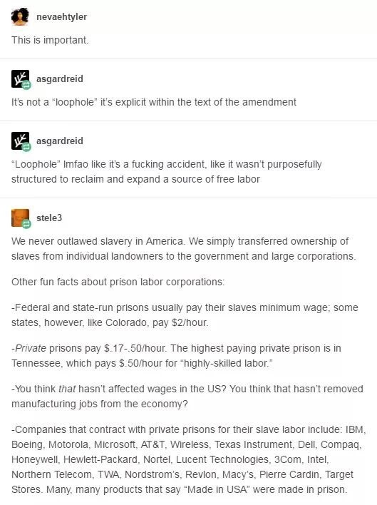 """industrial prison complex - Text - nevaehtyler This is important. Wasgardreid It's not a """"loophole"""" it's explicit within the text of the amendment Wasgardreid """"Loophole"""" Imfao like it's a fucking accident, like it wasn't purposefully structured to reclaim and expand a source of free labor stele3 We never outlawed slavery in America. We simply transferred ownership of slaves from individual landowners to the government and large corporations. Other fun facts about prison labor corporations: -Fede"""