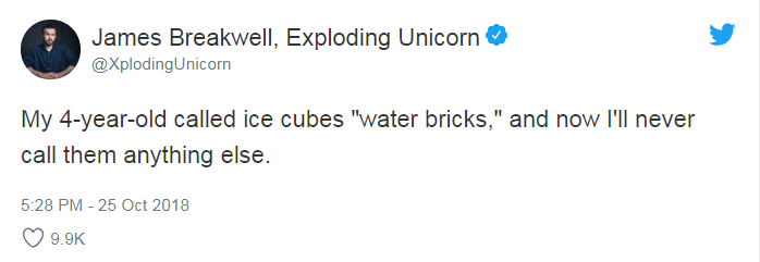 """Text - James Breakwell, Exploding Unicorn @XplodingUnicorn My 4-year-old called ice cubes """"water bricks,"""" and now l'll never call them anything else. 5:28 PM - 25 Oct 2018 9.9K"""