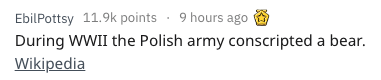 Text - EbilPottsy 11.9k points 9 hours ago During WWII the Polish army conscripted a bear Wikipedia