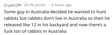 Text - CrypticZM 20.9k points 6 hours ago Some guy in Australia decided he wanted to hunt rabbits but rabbits don't live in Australia so then he released like 12 in his backyard and now there's a fuck ton of rabbits in Australia