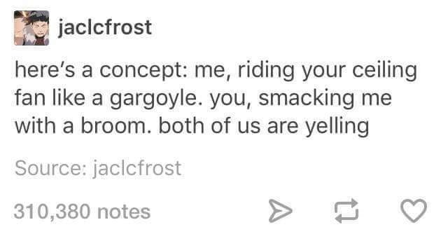 "Tumblr post that reads, ""Here's a concept: me, riding your ceiling fan like a gargoyle. You, smacking me with a broom. Both of us are yelling"""