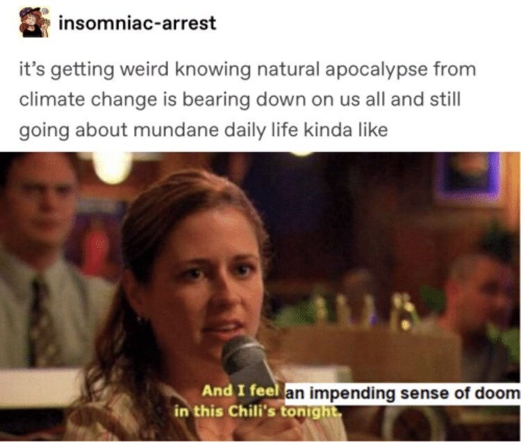 Facial expression - insomniac-arrest it's getting weird knowing natural apocalypse from climate change is bearing down on us all and still going about mundane daily life kinda like And I feel an impending sense of doom in this Chili's tonight