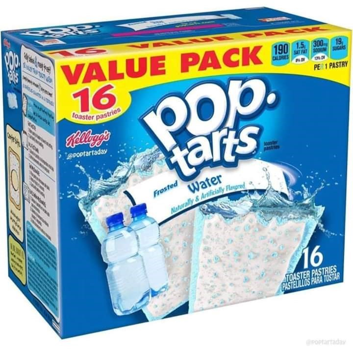 Water - VALUE PACK 16 190 1.5 300 19, ioum SAT FAT SOOM SUGARS CALDRES Pop tars PER 1 PASTRY toaster pastries hew tellayg'e @POptartaday oaster Water Frosted Naturally& Artificially Flaypred 16 TOASTER PASTRIES PASTELILLOS PARA TOSTAR POPtartaday t
