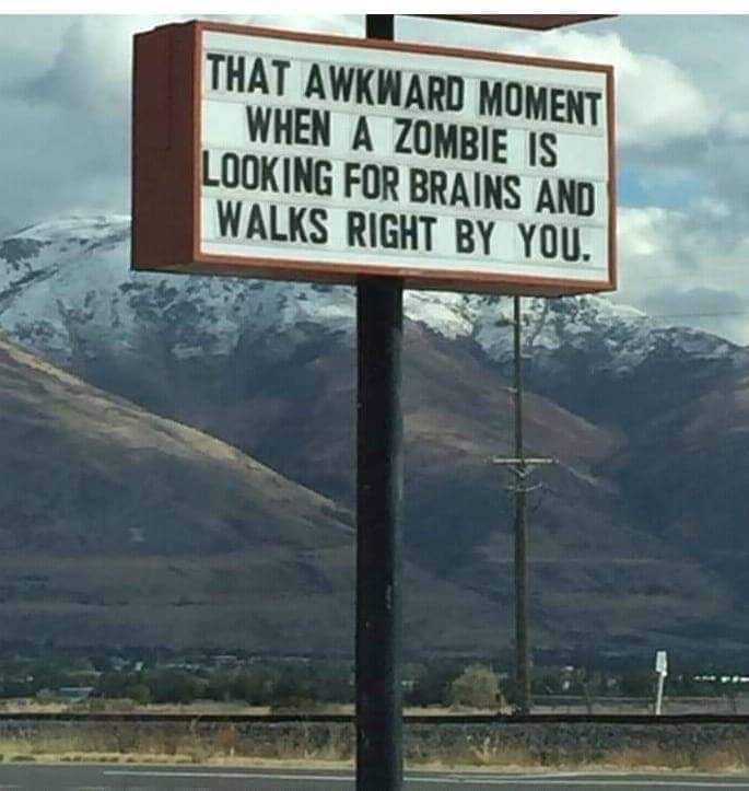 Street sign - THAT AWKWARD MOMENT WHEN A ZOMBIE IS LOOKING FOR BRAINS AND WALKS RIGHT BY YOU