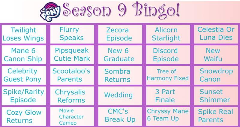 season 9 the beginning of the end bingo - 9290870272