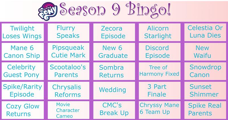 season 9 the beginning of the end bingo - 9290870272