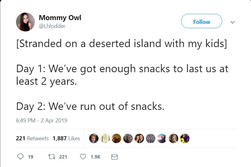 Text - Mommy Owl @Lhlodder Follow [Stranded on a deserted island with my kids] Day 1: We've got enough snacks to last us at least 2 years. Day 2: We've run out of snacks 6:49 PM -2 Apr 2019 221 Retweets 1,887 Likes t 221 19 1.9K