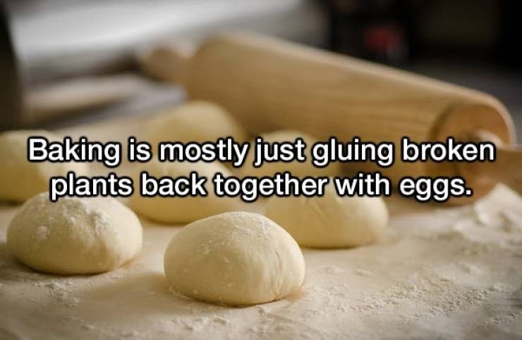 Food - Baking is mostly just gluing broken plants back together with eggs.