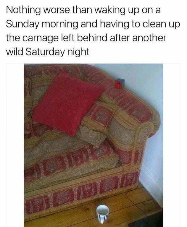Text - Nothing worse than waking up on a Sunday morning and having to clean up the carnage left behind after another wild Saturday night