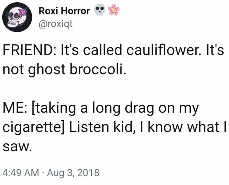Text - Roxi Horror @roxiqt FRIEND: It's called cauliflower. It's not ghost broccoli ME: [taking a long drag on my cigarette] Listen kid, I know what | saw. 4:49 AM Aug 3, 2018