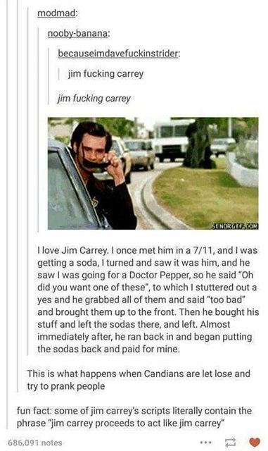 """Text - modmad: nooby-banana: becauseimdavefuckinstrider: jim fucking carrey jim fucking carrey SENORATF.COM Ilove Jim Carrey. I once met him in a 7/11, and I was getting a soda, I turned and saw it was him, and he saw I was going for a Doctor Pepper, so he said """"Oh did you want one of these"""", to which I stuttered out a yes and he grabbed all of them and said """"too bad"""" and brought them up to the front. Then he bought his stuff and left the sodas there, and left. Almost immediately after, he ran b"""