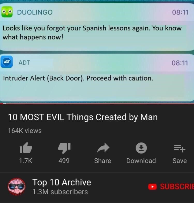 Text - 08:11 DUOLINGO Looks like you forgot your Spanish lessons again. You know what happens now! 08:11 ADT ADT Intruder Alert (Back Door). Proceed with caution. 10 MOST EVIL Things Created by Man 164K views Download Share 1.7K 499 Save Top 10 Archive SUBSCRI 1.3M subscribers