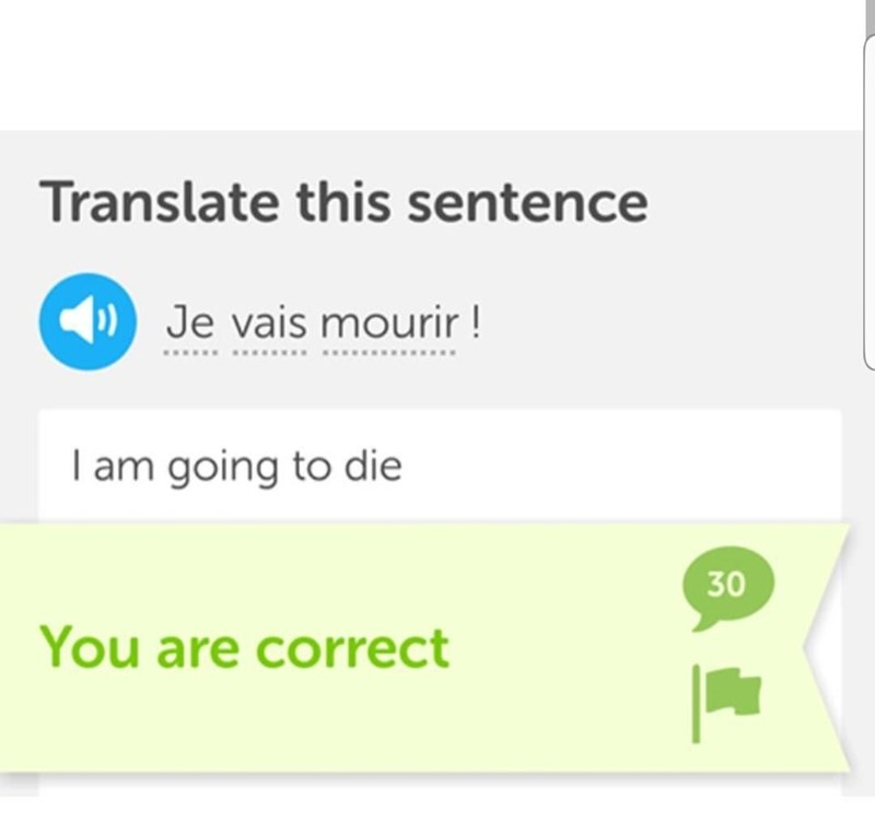 Text - Translate this sentence Je vais mourir! ... I am going to die 30 You are correct