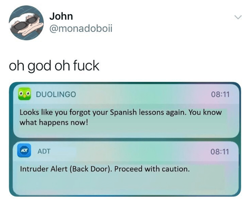 Text - John @monadoboii oh god oh fuck DUOLINGO 08:11 Looks like you forgot your Spanish lessons again. You know what happens now! ADT ADT 08:11 Intruder Alert (Back Door). Proceed with caution. >