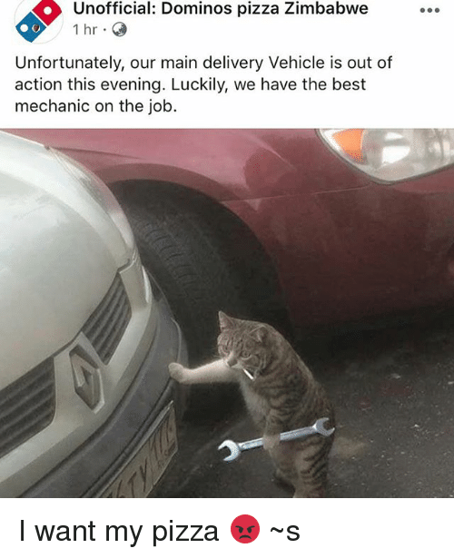 Car - Unofficial: Dominos pizza Zimbabwe 1 hr Unfortunately, our main delivery Vehicle is out of action this evening. Luckily, we have the best mechanic on the job I want my pizza S