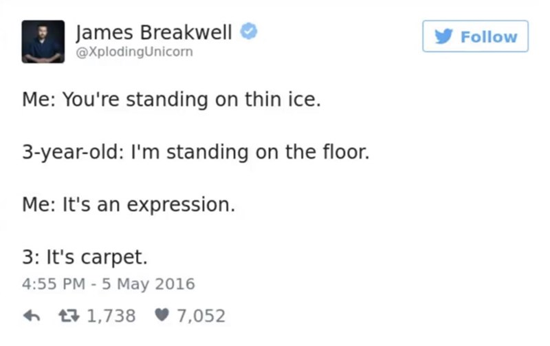 Text - James Breakwell @XplodingUnicorn Follow Me: You're standing on thin ice. 3-year-old: I'm standing on the floor. Me: It's an expression. 3: It's carpet. 4:55 PM -5 May 2016 t1,738 7,052