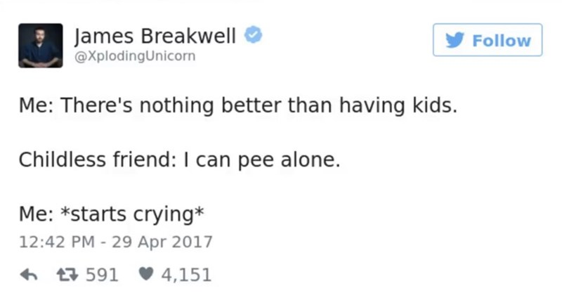 Text - James Breakwell @XplodingUnicorn Follow Me: There's nothing better than having kids. Childless friend: I can pee alone. Me: *starts crying* 12:42 PM - 29 Apr 2017 591 4,151