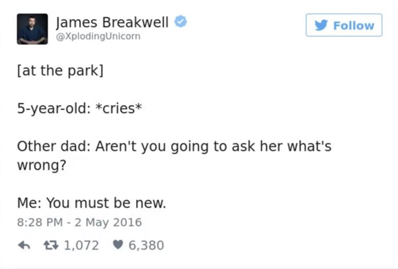 funny parent - Text - James Breakwell @XplodingUnicorn Follow [at the park] 5-year-old: *cries* Other dad: Aren't you going to ask her what's wrong? Me: You must be new. 8:28 PM - 2 May 2016 t1,072 6,380