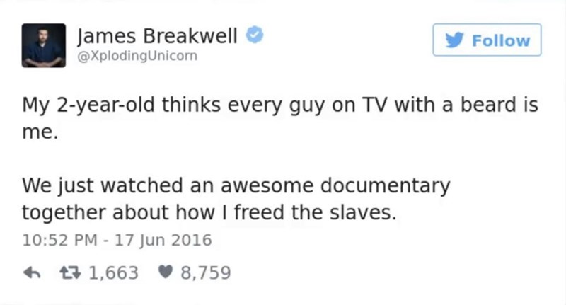 funny parent - Text - James Breakwell @XplodingUnicorn Follow My 2-year-old thinks every guy on TV with a beard is me. We just watched an awesome documentary together about how I freed the slaves. 10:52 PM - 17 Jun 2016 t1,663 8,759