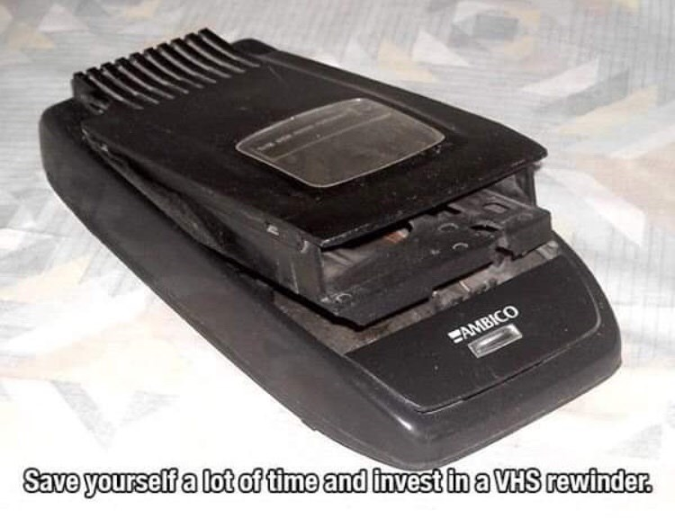 90s life hack - Technology - EAMBICO Save yourself a lot of time and invest in a VHS rewinder