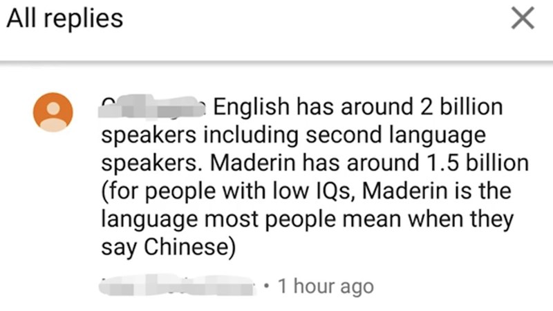 cringey genius - Text - All replies English has around 2 billion speakers including second language speakers. Maderin has around 1.5 billion (for people with low IQs, Maderin is the language most people mean when they say Chinese) 1 hour ago X