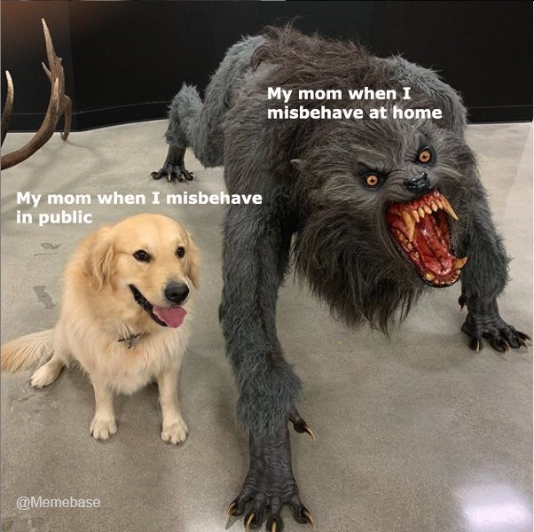 """Pic of a cute golden retriever that represents, """"My mom when I misbehave in public"""" sitting next a statue of a werewolf that represents """"My mom when I misbehave at home"""""""