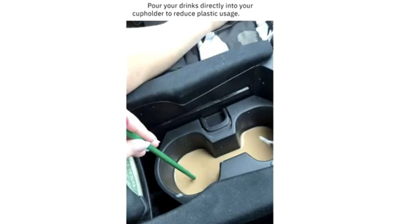 Product - Pour your drinks directly into your cupholder to reduce plastic usage.