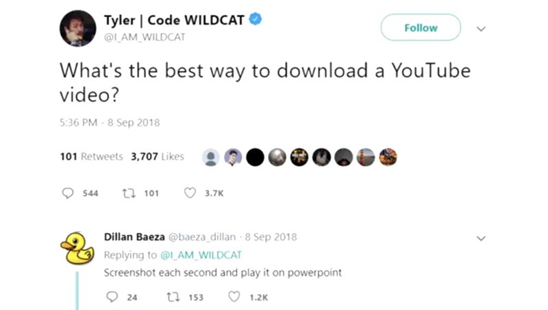 Text - Tyler | Code WILDCAT Follow @L_AM WILDCAT What's the best way to download a YouTube video? 5:36 PM-8 Sep 2018 101 Retweets 3,707 Likes ti101 3.7K 544 Dillan Baeza @baeza dillan 8 Sep 2018 Replying to @I_AM_WILDCAT Screenshot each second and play it on powerpoint O 24 ti153 1.2K