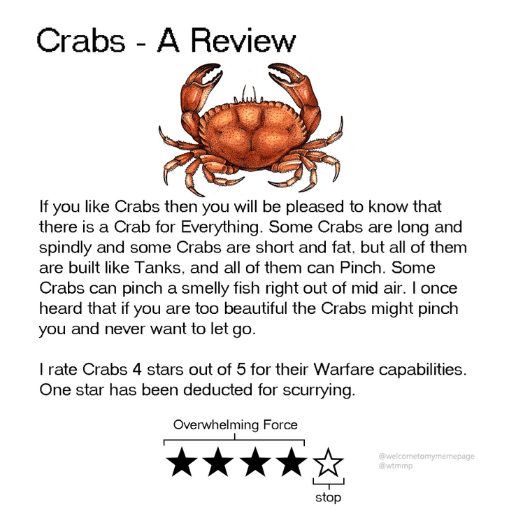 Crab - Crabs - A Review If you like Crabs then you will be pleased to know that there is a Crab for Everything. Some Crabs are long and spindly and some Crabs are short and fat, but all of them are built like Tanks, and all of them can Pinch. Some Crabs can pinch a smelly fish right out of mid air. I once heard that if you are too beautiful the Crabs might pinch you and never want to let go. Irate Crabs 4 stars out of 5 for their Warfare capabilities One star has been deducted for scurrying. Ove