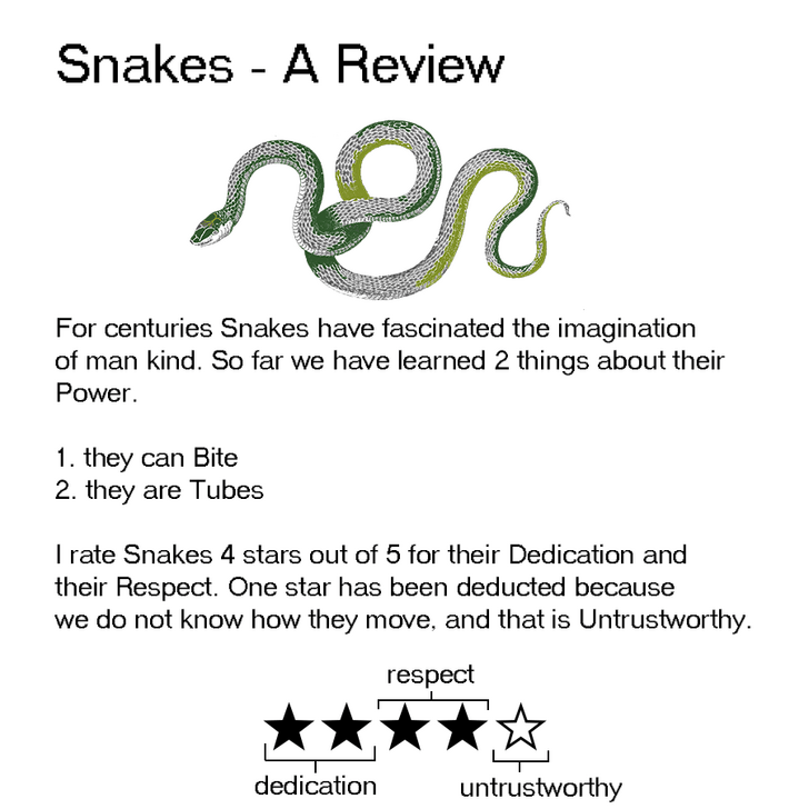 Text - Snakes - A Review For centuries Snakes have fascinated the imagination of man kind. So far we have learned 2 things about their Power 1. they can Bite 2. they are Tubes rate Snakes 4 stars out of 5 for their Dedication and their Respect. One star has been deducted because we do not know how they move, and that is Untrustworthy respect dedication untrustworthy