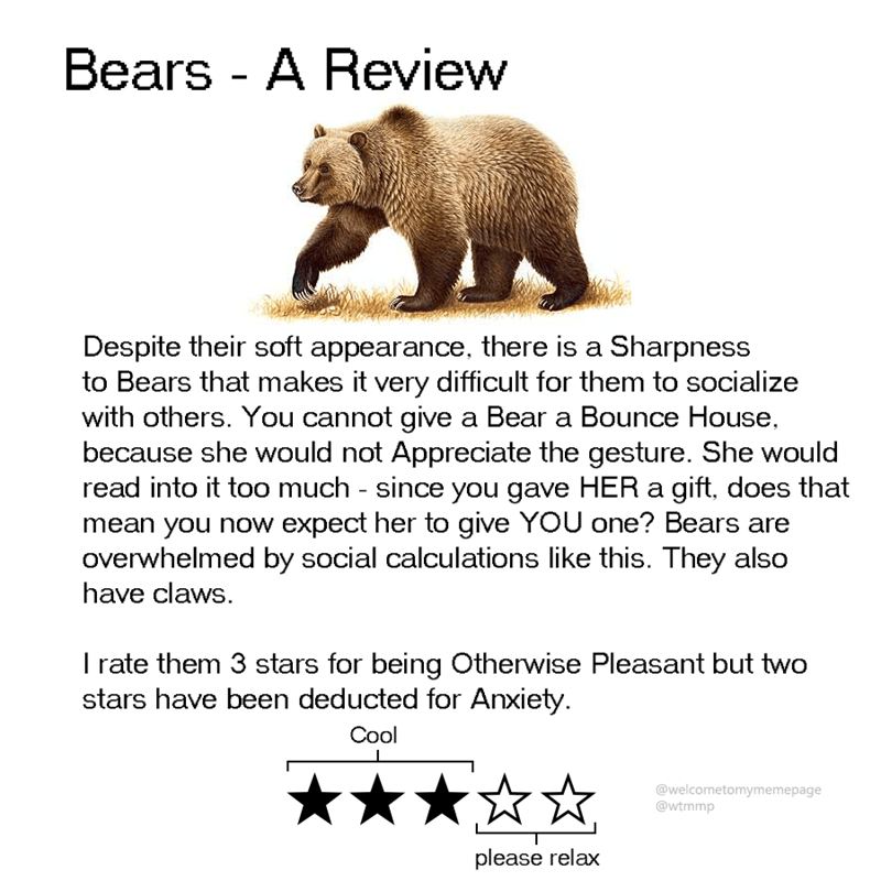 Grizzly bear - Bears - A Review Despite their soft appearance, there is a Sharpness to Bears that makes it very difficult for them to socialize with others. You cannot give a Bear a Bounce House because she would not Appreciate the gesture. She would read into it too much - since you gave HER a gift, does that mean you now expect her to give YOU one? Bears are overwhelmed by social calculations like this. They also have claws. I rate them 3 stars for being Otherwise Pleasant but two stars have b