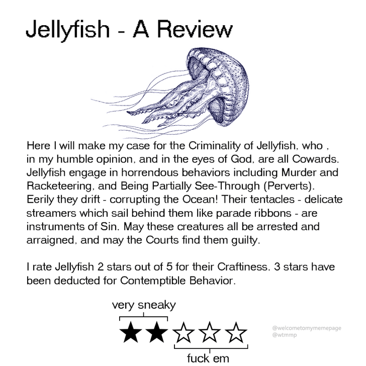Text - Jellyfish A Review Here I will make my case for the Criminality of Jellyfish, who in my humble opinion, and in the eyes of God, are all Cowards. Jellyfish engage in horrendous behaviors including Murder and Racketeering, and Being Partially See-Through (Perverts) Eerily they drift corrupting the Ocean! Their tentacles - delicate streamers which sail behind them like parade ribbons are instruments of Sin. May these creatures all be arrested and arraigned, and may the Courts find them guilt