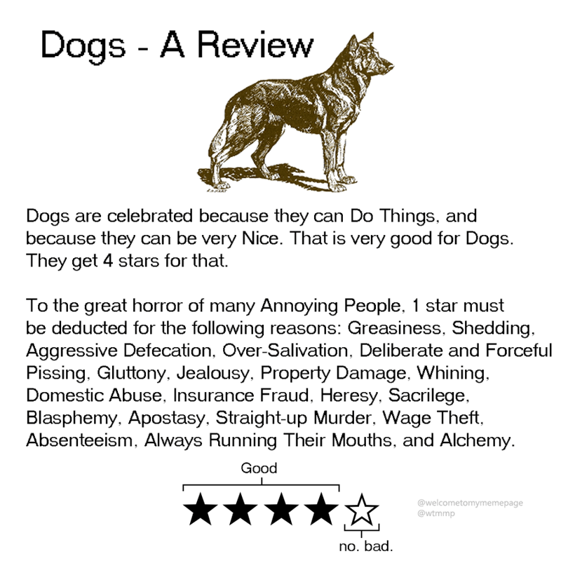 Canidae - Dogs A Review Dogs are celebrated because they can Do Things, and because they can be very Nice. That is very good for Dogs. They get 4 stars for that. To the great horror of many Annoying People, 1 star must be deducted for the following reasons: Greasiness, Shedding Aggressive Defecation, Over-Salivation, Deliberate and Forceful Pissing. Gluttony, Jealousy, Property Damage, Whining. Domestic Abuse, Insurance Fraud, Heresy, Sacrilege Blasphemy, Apostasy, Straight-up Murder, Wage Theft