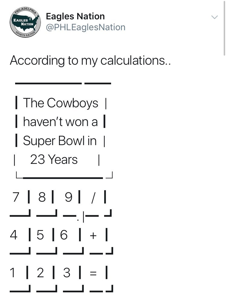 Text - RADELTRA Eagles Nation @PHLEaglesNation EAGLES NATION PORTS NATIO According to my calculations.. The Cowboys | haven't won a Super Bowl in | 23 Years 7 | 8| 9 - 5 |6 | 1 | 2 | 3