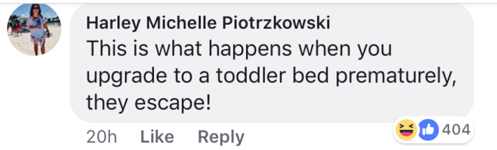 short joke - Text - Harley Michelle Piotrzkowski This is what happens when you upgrade to a toddler bed prematurely, they escape! 404 20h Like Reply