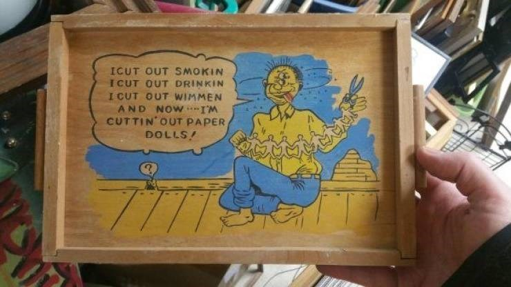 Cartoon - ICUT OUT SMOKIN I CUT OUT DRINKIN I CUT OUT WIMMEN AND NOW-IM CUTTIN OUT PAPER DOLLS!