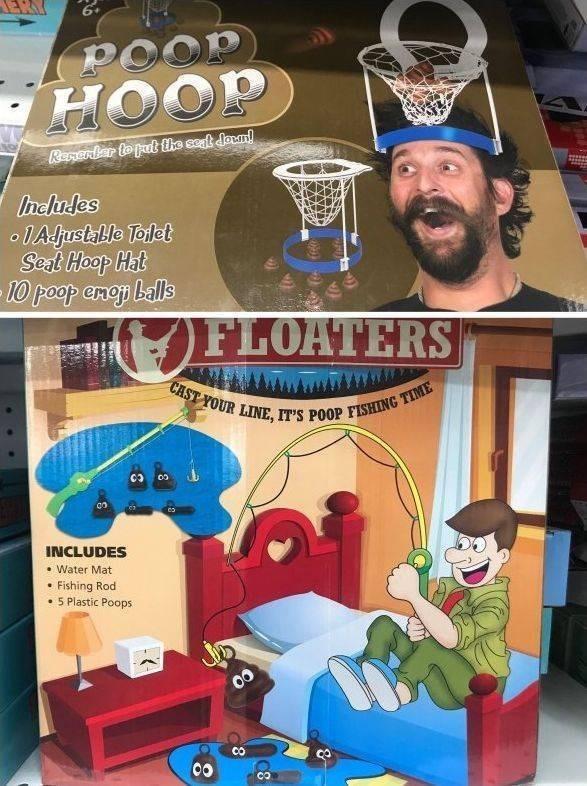 Toy - POOP HOOP Renerbr to patthe seat doun! Includes o1Aljustalle Toet Seat Hoop Hat 10 poop enop balls FLOATERS CAST YOUR LINE, IT'S POOP FISHING TIME INCLUDES . Water Mat Fishing Rod 5 Plastic Poops CO CO