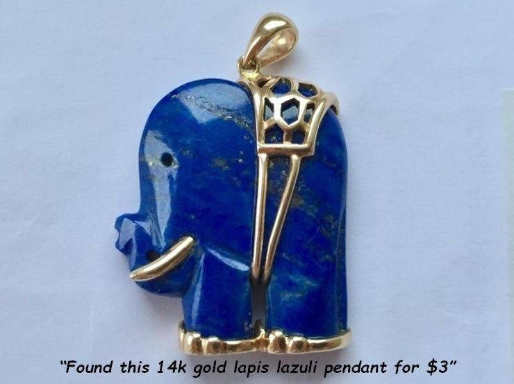 "Cobalt blue - ""Found this 14k gold lapis lazuli pendant for $3"""