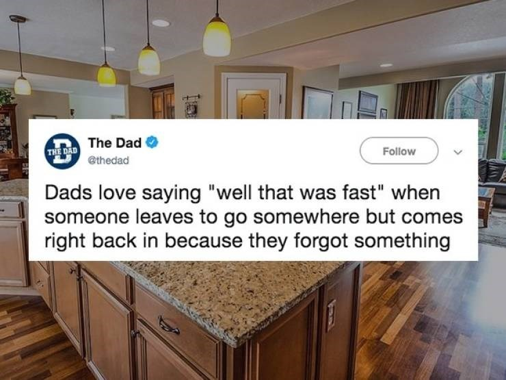 """Countertop - THE DAD The Dad @thedad Follow Dads love saying """"well that was fast"""" when someone leaves to go somewhere but comes right back in because they forgot something"""