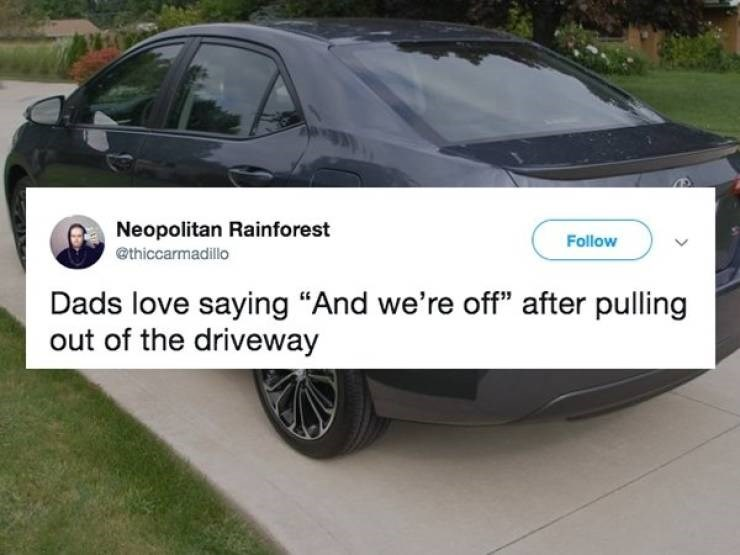 """Land vehicle - Neopolitan Rainforest Follow @thiccarmadillo Dads love saying """"And we're off"""" after pulling out of the driveway"""