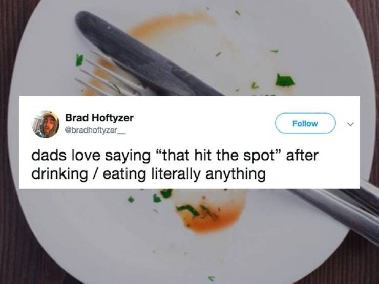"""Dish - Brad Hoftyzer @bradhoftyzer Follow dads love saying """"that hit the spot"""" after drinking eating literally anything"""